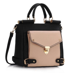 Black and Nude Structured Tote Bag-800x800